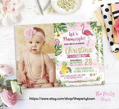 Flamingo Birthday Invitation, 1st Pineapple Invitation, Photo Gold Flamingo Invitation with Palms, Luau Invitation Gold Pineapple Birthday