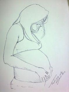 Fabrício Sant'Ana - Designer & Ilustrador: Desenho com caneta esferográfica - Mulher Grávida