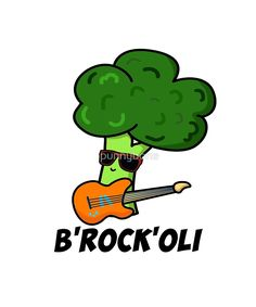 B-Rock-Oli Cute Rocker Broccoli Pun features a broccoli rocker looking gnarly in sunglasses and electric guitar. Cute pun gift for family and friends who love broccoli, rock and puns. Funny Food Puns, Punny Puns, Cute Puns, Food Humor, Funny Puns For Kids, Food Jokes, Fun Funny, Veggie Puns, Vegetable Puns