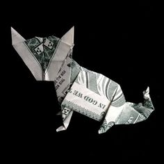 Art Gift CAT Money Origami made of Real One Dollar by trinket2shop