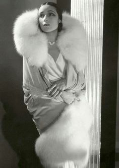 Augusta Bernard, white fox on grey valentine, 1929
