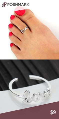 "New Toe ring ""LOVE"" silver plated open adjustable New without tag Open adjustable toe ring. Silver plated unbrand Jewelry Rings"