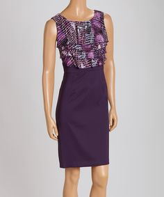 Love this Eggplant Snakeskin Ruffle Sleeveless Dress - Women by En Focus Studio on #zulily! #zulilyfinds