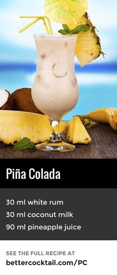 Piña Colada, the national drink of Puerto Rico since 1978 and enjoyed on beaches and sunbeds around the world. A complimentary blend of rum, coconut and pineapple combine beautifully. Served in a Poco Grande glass (also known as a hurricane glass) and garnished with fresh pineapple and a cocktail cherry, this drink really is a summer classic. #summercocktails