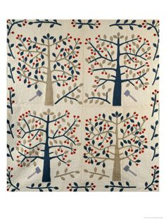 An Appliqued Cotton Quilted Coverlet, American, Mid 19th Century Posters at AllPosters.com LOOOVE THIS PRINT!! ♡♥
