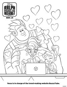 Wreck It Ralph is coming back! Take a look at the new Disney Ralph Breaks the Internet: Wreck-It Ralph 2 movie trailer. Cartoon Coloring Pages, Coloring Pages To Print, Free Printable Coloring Pages, Coloring For Kids, Coloring Sheets, Coloring Pages For Kids, Coloring Books, Colouring, Coloring Worksheets