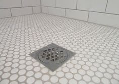 White penny and subway tiles, grout in Dunlop Misty Grey by jenna
