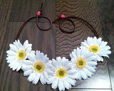White Daisy Flower Headband, Flower Crown, Flower Halo, Festival Wear, EDC, Ezoo, Rave, Coachella, Beach, Hippie Headband