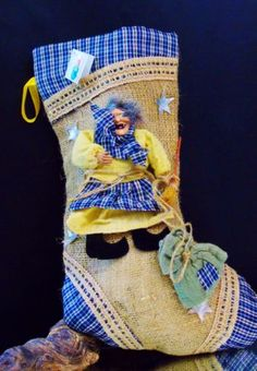 Halloween-Witch-Stocking-Jute-Burlap-Witchcraft-Home-Decor-Stuff-It-NWT
