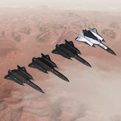 YF-12, 3 SR-71 wit the 3rd SR carring a D-21 high speed drone.
