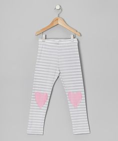 Take a look at this Gray Stripe Lovely Heart Leggings - Toddler & Girls on zulily today!