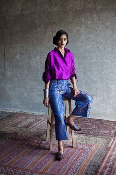 payalkhandwala - AW/2015 - Silk Shirt and Brocade Culotte