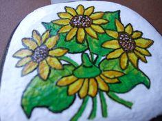 Malované oblázky 8-slunečnice