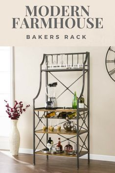 Modern Farmhouse Bakers Rack Small space friendly microwave stand Doubles as juice station or coffee bar 3 shelves, wine rack, and and roomy countertop Not butcher block certified Wood grain and distressing will vary Kitchen, powder room, or dining room Traditional to farmhouse style Antique gray and dark distressed pine finish. #affiliate, #farmhouse, #bakersrack, #modern, #kitchen, #homedecor