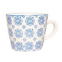 Casablanca Blau Becher FLORAL mit Henkel