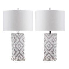 Diamonds Table Lamps - Set of 2 (3.305.230 IDR) ❤ liked on Polyvore featuring home, lighting, table lamps, diamond lamp, home decorators collection, white finials, set of two table lamps and rectangular lamp