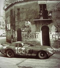 The Ferrari 250 GTO racing and fighting at the 1964 Targa Florio. These cars are now worth tens of millions. Ferrari Racing, Ferrari Car, Sports Car Racing, Race Cars, Road Racing, Auto Racing, Automobile, F12 Berlinetta, Vintage Race Car