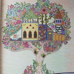 Johanna Basford Coloring Enchanted Forest Mushroom Castle Village Floresta Encantada Vila Na Arvore
