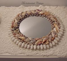Shabby beach cottage gorgeous hand made sea shell seashell mirror/vanity tray. thehaberdashcottage.etsy.com
