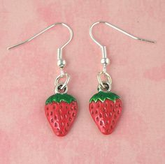 Strawberry Tiki Earrings  Pin Up  Bombshell  by cherrykamikaze