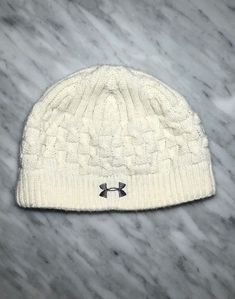 Under Armour Women s Lined Winter warm White Beanie Hat Chunky Knit   fashion  clothing   73176b3725af