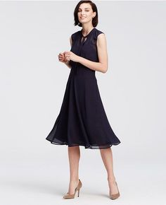 Ann Taylor's Chiffon Tie Neck Midi Dress in Navy Blue. I like this dress for work Modest Dresses, Strapless Dress, Work Dresses, Pretty Dresses, Summer Dresses, Work Fashion, Fashion Beauty, Happy Hour Outfit, Gamine Style