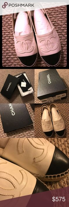 Authentic Chanel Espadrilles Well-loved 💯 authentic Chanel espadrilles in size 35/5, the newer double sole version! So beautiful but after getting pregnant, I went up a shoe size lol. There are signs of wear as you can see in the photos but collectively, I've only probably used these only once every 3 or 4 months in the past year and a half! Comes with care card, dust bag, box with tissue still in the shoes to keep shape and tissues in the box. My loss is your gain. Happy poshing! CHANEL…