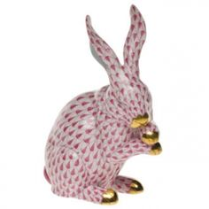 "Herend Hand Painted Porcelain Figurine ""Medium Bunny w Paws Up"" Raspberry Fishnet Gold Accents."
