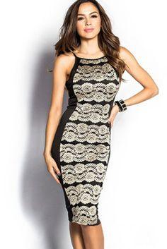 Black and Tan Sleeveless Lace Overlay Midi Dress - Stella La Moda Women's Knee Length Dresses, Tight Dresses, Sexy Dresses, Nice Dresses, Casual Dresses, Dresses For Work, Fashion Dresses, Optical Illusion Dress, Midi Dresses Online