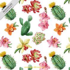 Fondo bonito de cactus y flores con efecto acuarela Vector Gratis