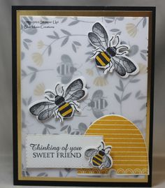 Honey Bee Stamps, Bee Cards, Stamping Up Cards, Butterfly Cards, Pretty Cards, Scrapbook Cards, Scrapbooking, Card Sketches, Paper Cards