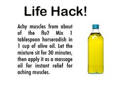 Achy muscles? Mix horseradish and olive oil and apply as a massage oil for muscle relief.