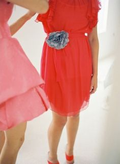 LOVE the bright color with silver flower on the hip