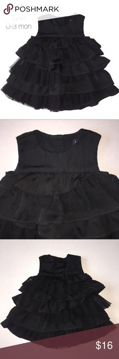 Baby Gap Black Ruffle Tiered Dress 0-3 mon Gently worn Baby Gap Black Ruffle Tiered Dress 0-3 mon GAP Dresses