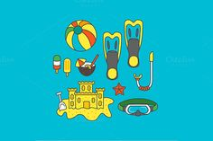 Diving holiday set by MarioMovement on Creative Market