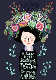 It takes both: sunshine and rain to grow a garden, wall art print for gardeners, woman with flowers and quote, illustration digital art Garten Spruch [. Words Quotes, Art Quotes, Garden Wall Art, Garden Quotes, Pretty Quotes, Flower Quotes, Art Graphique, Animal Nursery, Botanical Art