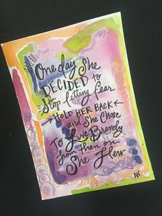 Custom Watercolor ink paintings are one of my favorite artworks to create. I love to be a part of such a personalized gift or home decor item. The colors, lettering and words can be customized to your liking. The photos are just a few examples of my custom watercolor/ink paintings.   *5x7 Watercolors and Pitt Pen on 120 pound mixed media paper. *All lettering is hand done with Pitt pen. *Customize to your liking - colors, quotes, Bible verses, names, etc. *Perfect for home, office or…