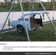 Creative reuse for an old car body! a car swing how awesome .- Creative reuse for an old car body! a car swing how awesome is this love it! Creative reuse for an old car body! a car swing how awesome is this love it! Cool Ideas, Creative Ideas, Diy Ideas, Decor Ideas, Cool Swings, Deco Originale, Cool Inventions, Jacuzzi, Old Cars