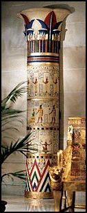 Ready to mount to your wall, these eight-foot wonders are ringed with traditional hieroglyphics hand-scribed into the columns and crowned with lotus capitols. Cast of fiberglass-reinforced resin and hand-painted in the rich jewel tones of the Egyptian palette