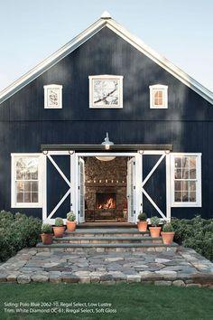 A barn in classic Polo Blue 2062-10 Benjamin Moore. Front door?