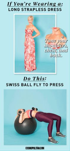 High-cut halter-neck dresses conceal cleavage — which means they let your shoulders do the talking. To make sure they have something to say, try dive bomber push-ups.