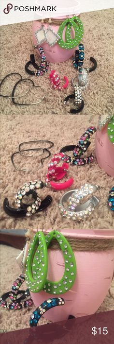 SALE  8 Pair of Assorted Earrings. Bling Bling Bling is what this bundle is all about! 2 pair of large bling hoops, 3 pair of small bling hoops (hot pink, silver, and black), 1 pair of green bling. One pair of off white bling and 1 pair of black heart earrings. All costume jewelry. Jewelry Earrings