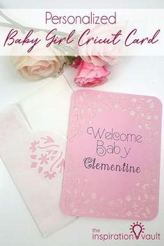 Personalized Baby Girl Cricut Card Personalized Baby Girl Cricut Card Craft Tutorial via Inspiration Vault Diy Craft Projects, Crafts For Kids, Project Ideas, Decor Crafts, Diy Crafts, Decorated Gift Bags, Handmade Baby, Handmade Cards, Handmade Gifts
