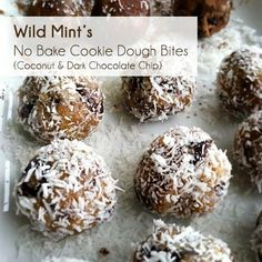 #Vegan #NoBake coconut dark chocolate cookie dough bites!!! amazing and delicious and healthy!