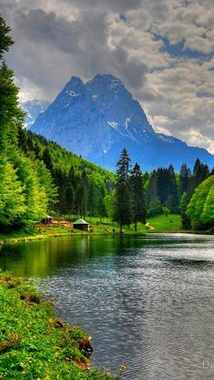 Lake Riessersee and Mount Alpspitz, Germany: