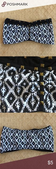 Bandeau Black and white Aztec design bandeau with gold square studs. Rue21 Intimates & Sleepwear Bandeaus