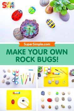 These rock bugs can be made with materials you probably already have at home, plus a few you can find outside on the ground! Look for rocks that are smooth, round and flat-ish to make your bug friends, bring them inside to get cleaned up, and then you are ready to make your amazing rock bugs. Easy Crafts For Kids, Craft Activities For Kids, Easy Diy Crafts, Science Activities, Toddler Crafts, Simple Crafts, Craft Ideas, Eye Painting, Rock Painting