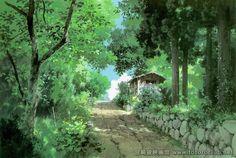 Отличный арт по окружению из мультика Хаяо Миядзаки «Мой сосед Тоторо»