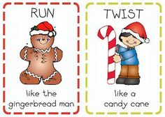 Print out these Christmas action cards, use for Kindergarten class party.or rainy day activity without christmas theme. Gross Motor Activities, Preschool Activities, Party Activities, Advent Activities, Movement Activities, Party Games, Primary Singing Time, Primary Music, Lds Primary