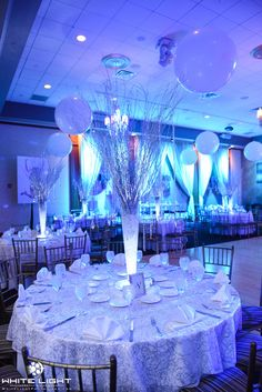 Winter Wonderland theme party with Birch Tree centerpieces created by Lighter Than Air - www.ltaparty.com #birch #birchtrees #winter #winterwonderland #Avodah #TempleAvodah